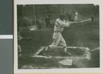 A Baseball Player from Ibaraki Christian College Hitting a Ball, Ibaraki, Japan, 1953
