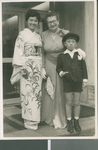 Beth Bixler with Two members of the Tokyo Central Church of Christ, Tokyo, Japan, 1960