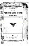A History of the Plum Street Church of Christ, Detroit, Mich.