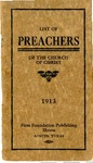 List of Preachers Of the Churches of Christ