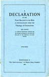 A Declaration Of The Truth Revealed in the Bible As Distinguishable From The Theology of Christendom Set Fort In A Series of Propositions, Arranged For The Purpose Of Exhibiting The Faith Promulgated By The Apostles In The First Century