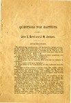 Questions For Baptists by John S. Durst and J. W. Jackson