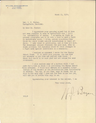 Letter from William Jennings Bryan to R. C. Foster