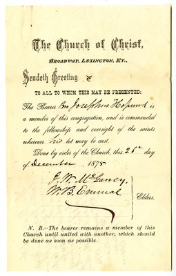 Josephus Hopwood, The Church of Christ Membership Transfer